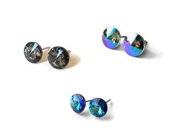 Crystal Stud Earrings, Sterling silver crystal Earrings, Blue stud earrings, Many colors