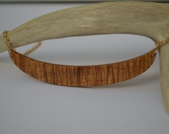 "Crescent Hawaiian Koa Wood Pendant with 16"" Brass Chain"