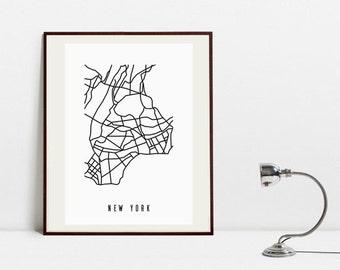 New York Abstract Map - Black and White Art Print -  Digital Download Art Print