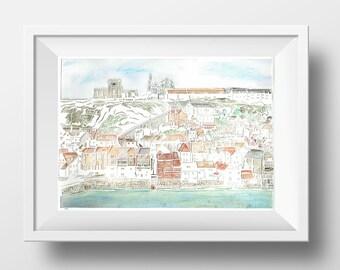 Whitby view papercut print – Yorkshire coast – Whitby art – harbour – seaside art – landscape papercut – nautical – beach decor – travel art