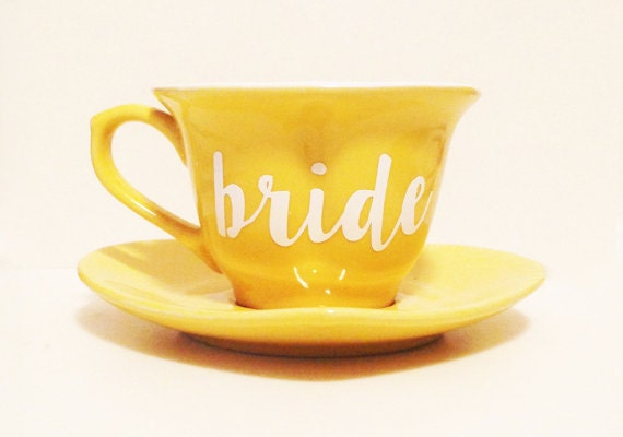 Bride Tea Cup And Saucer Heart Shaped Bright Yellow