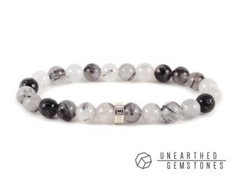 Black Tourmalinated Quartz Bracelet - Tourmalated Quartz Bracelet, Black Rutilated Quartz Jewelry, Gemstone Accessories