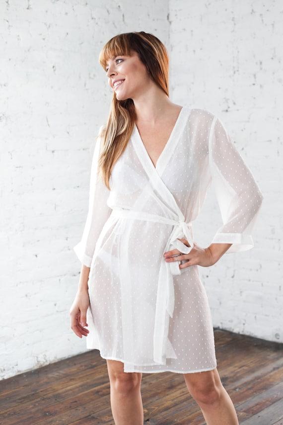 Sheer Ivory Robe White Bridesmaid Amp Brides Kimono Dressing