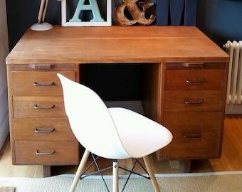 SOLD Vintage/Retro 1950's Industrial Wooden Pedestal Desk SOLD
