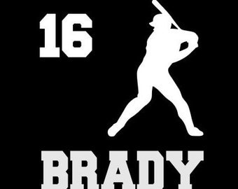 Baseball Player Decal Personalized Player Name , Player Number Vinyl Decal for Car Window, Locker, Laptop, and More!
