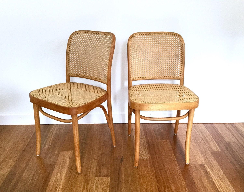 Pair Of Bentwood Prague 811 Thonet Cane Chairs, FMG Made In Poland, Josef  Hoffmann