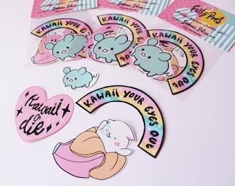 Frilly Pops Sticker Pack, kawaii, illustration, bunny, stationary, cute, organiser, banana cat