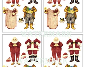 Father Christmas Santa Claus paper doll card topper embellishments card making or gift tags just print and cut out 99p download 2 styles