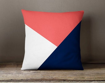 Throw Pillow Cover, Decorative Pillow Cover, Accent Pillow Cover,Coral Navy White, Color Block Pillow Cover, BRAND NEW DESIGN!