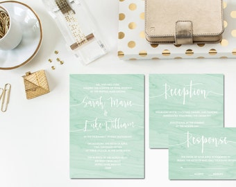 Mint Watercolor Wedding Invitation Set