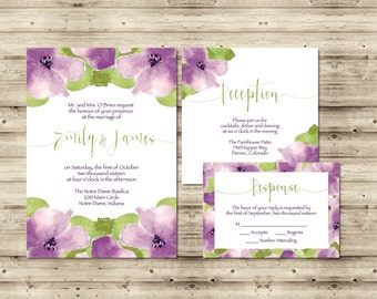 Sweet Violet Wedding Invitation Suite | Purple and Spring Green