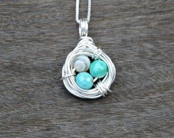Amazonite Bird's Nest Wire Wrapped Pendant (Free shipping in Canada!)