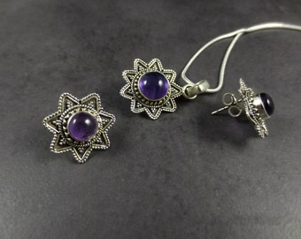 Amethyst Jewelry Set, Amethyst Pendant & Earrings Set, Amethyst Pendant + Earrings, Vintage Inspired , February Birthstone, Gift
