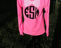 Monogrammed Bow Long Sleeve Tshirt - Personalized Front and Back - Chevron Bow Monogram