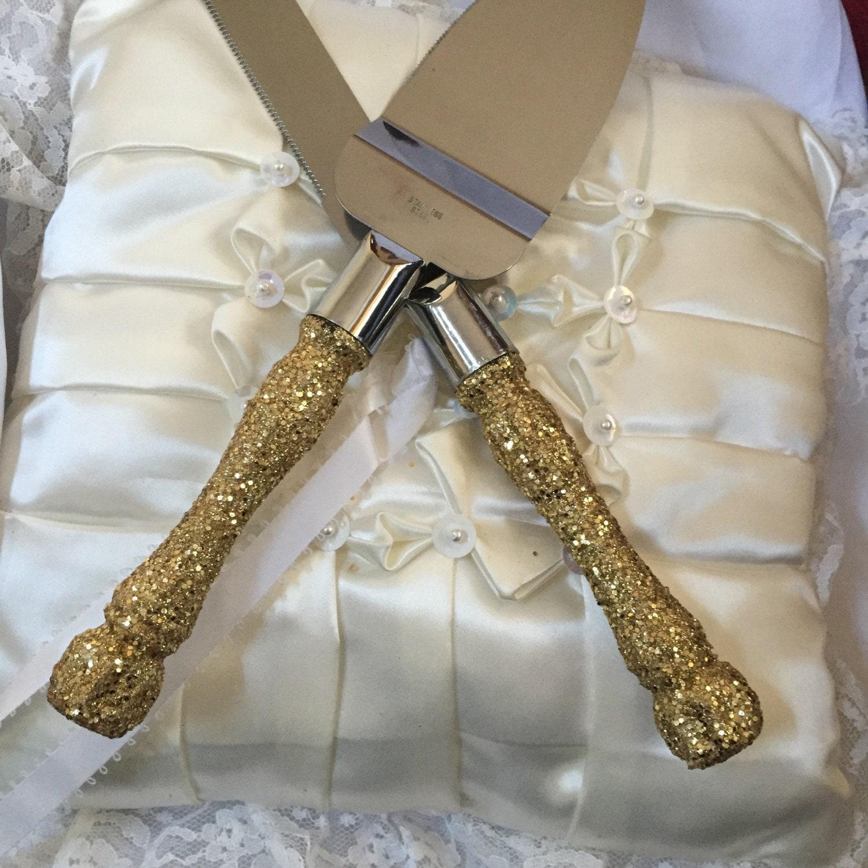 Gold Cake Cutting Set Gold Glitter Cake Cutting Set Wedding