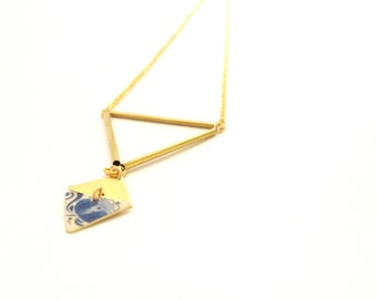 Blue China | Necklace gold geometric triangles tubes and diamond - handmade