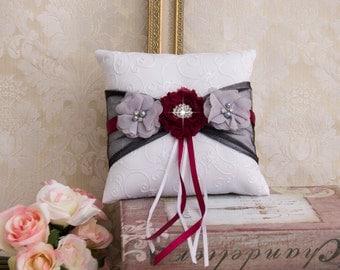 Wedding Ring Bearer Pillow, Ring Bearer Pillow, Burgundy and Gray Ring Bearer Pillow, Wedding Accessories, Wedding Ring Pillow