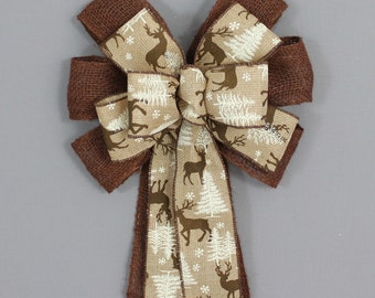 Deer Brown Burlap Christmas Bow - Christmas Wreath Bow, Garland Bow, Christmas Tree Topper Bow, Burlap Christmas, Country Christmas Bow