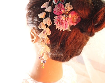 kanzashi flower--Kanzashi-Kanzashi Hair Stick, geishas hair piece,Japanese hair  stick,,Kanzashi flower-Janpanese Kanzashi-set of two
