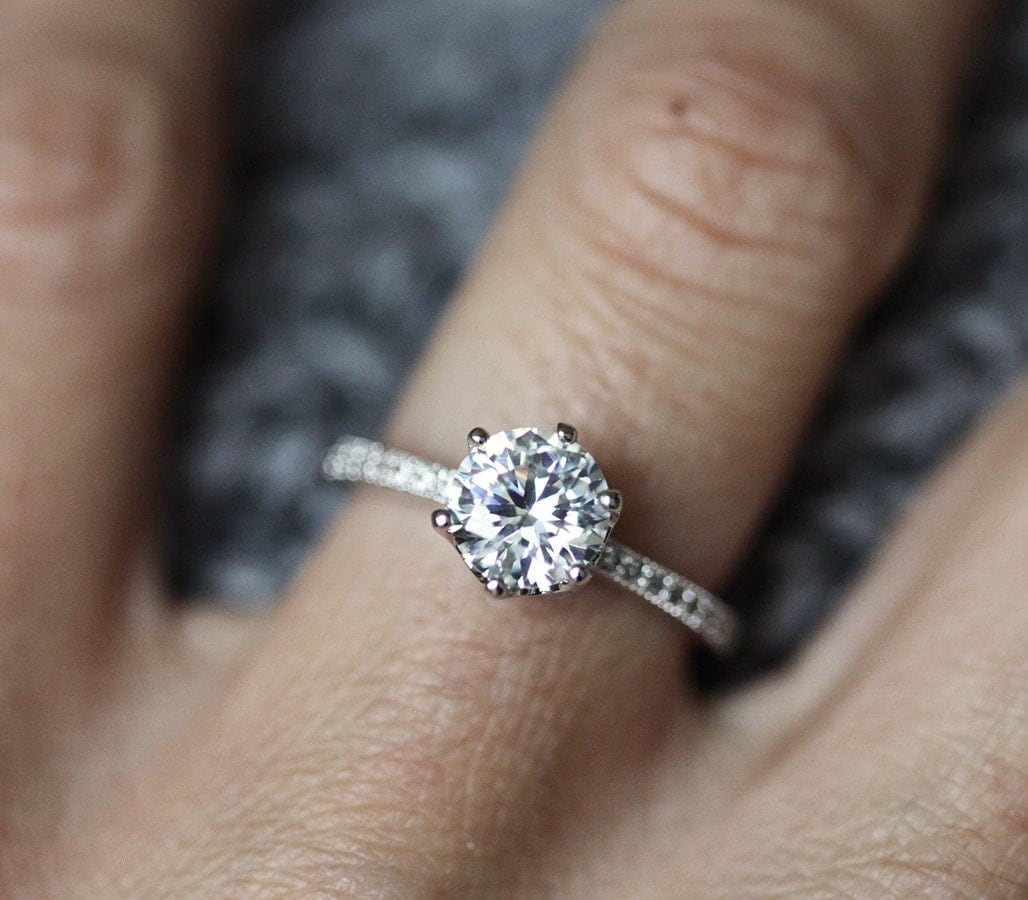 Moissanite and Diamonds Engagement Ring Prong Engagement