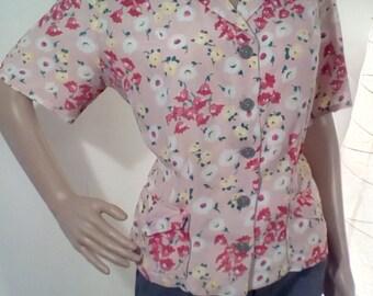 1940s Pink Floral Pajama Top