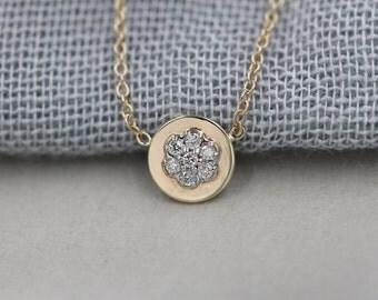 Genuine diamond cluster necklace diamond flower necklace 14k gold necklace diamond pendant