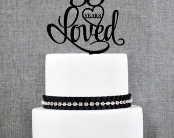 55 Years Loved Birthday Cake Topper, Elegant 55th Cake Topper, 55th Anniversary Cake Topper- (T244-55)