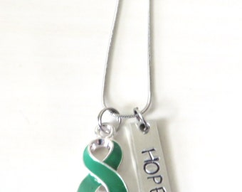 Green Customizable Awareness Ribbon Stainless Steel Charm Necklace with Optional Add On Charms