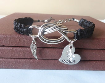 Uncle Memorial Angel Wing Crystal Birthstone Hand Stamped Love Knot Bracelet You Choose Your Birthstone Charm and Cord Color(s)
