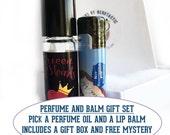 Nerdy Bath and Beauty Set, Fandom Cosmetics, Geekery Bath and Body Set, Lip Balm and Fragrance Oil with Keyring, Vegan Lip Balm Set
