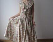 90's Summer Dress Flowers Print Button Up Sleeveless Dress Hipster Festival Dress Small Size