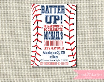 Baseball Invitation, Baseball Birthday Invitation, Baseball Invite, Red, Navy, Baseball, Sports Invitation, Digital Printable File, Slugger