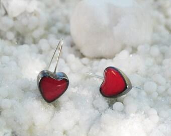 Dangle earrings, red heart earrings, romantic earrings, sterling silver earrings, Valentines Day gifts, Mothers' Day