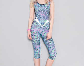 Burnt Soul Reflective Yoga Bodysuit - Renegade Catsuit - High quality Lycra in Bespoke Print Workout Jumpsuit