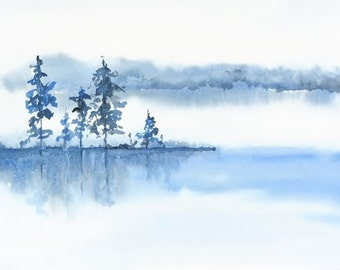 Blue Grey White Wall Art Watercolor Print, Misty Morning Landscape Decor, Fog, Water, Watercolor Painting, Relaxing Art Print, Lake Print