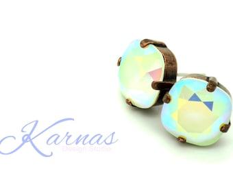 POWDER GREEN AB 12mm Crystal Cushion Cut Stud Earrings Swarovski Elements *Pick Your Finish *Karnas Design Studio *Free Shipping
