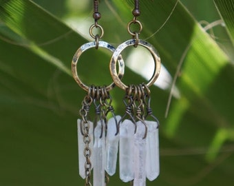 Bohemian Spirit Quartz Earrings / Raw Quartz Crystal Earrings / Wirewrapped Clear Quartz / Quartz Chandelier / Boho-Chic / Gypsy Style