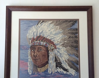 Vintage Native Indian Needlepoint Framed Wall Hanging
