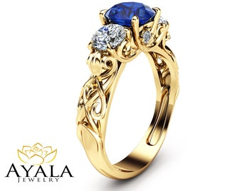 Three Stone Sapphire Engagement Ring Unique Engagement Ring in 14K Yellow Gold Filigree Ring with Blue Sapphire and Moissanite