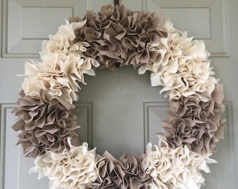 Two Tone Swatch Wreath - Year Round Wreath -  Burlap Swatch Wreath - Rustic Wreath - Front Door Wreath