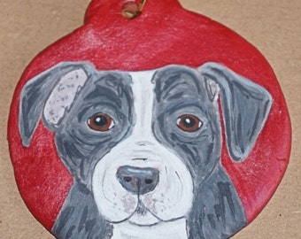 Hand Painted Staffy flat bauble
