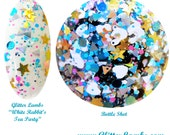 White Rabbit's Tea Party: Alice In Wonderland Glitter Topper Nail Polish Lacquer- Indie Nail Polish Custom Handmade