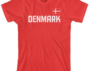 Denmark National Team Men's T-shirt Danish Soccer Scandinavian Football Nordic Copenhagen Kingdom Flag  - TA_00246