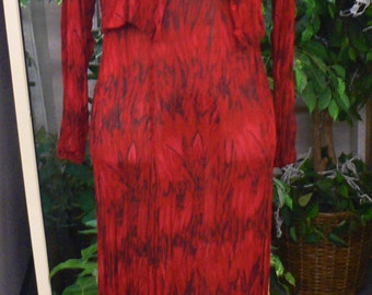 Vintage red and black sheer maxi dress with matching top jacket size small medium