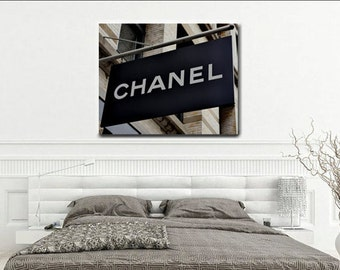 Chanel art, Coco Chanel shop sign, chanel decor, Chanel boutique store, fashion canvas art, large art print, chanel wall art girls bedroom