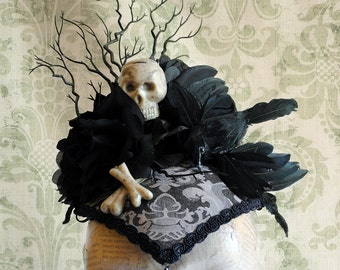 Day of the Dead Gothic Headpiece,Black Victorian Crow Head-dress,Edgar Allan Poe Fascinator the Raven-Ready to Ship