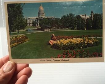 DENVER CIVIC CENTER Post Card,Denver Colorado photo,Denver Capitol Building picture,color pic,Vintage Memento,Vintage Souvenir,Vintage card