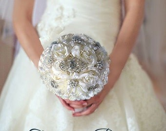 Brooch Bouquet, White or Ivory Brooch Bouquet, Jeweled Bouquet, Ready To Ship Full Price
