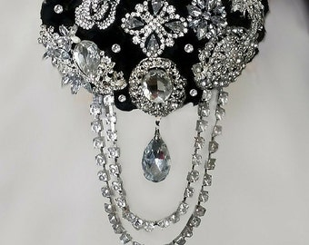 Elegant Black Brooch Bouquet,  Cascading Brooch Bouquet,  Deposit Only, Full Price 325.00