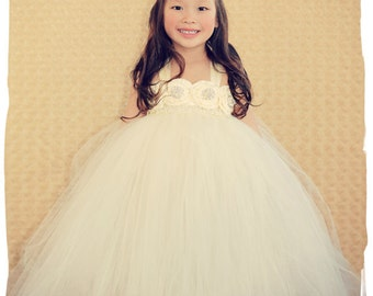 Ivory Flower Girl Dress, Ivory tutu dress, Flower Girl Tutu Dress, Wedding tutu dress, Ivory and pearls flower girl tutu dress, flower girl